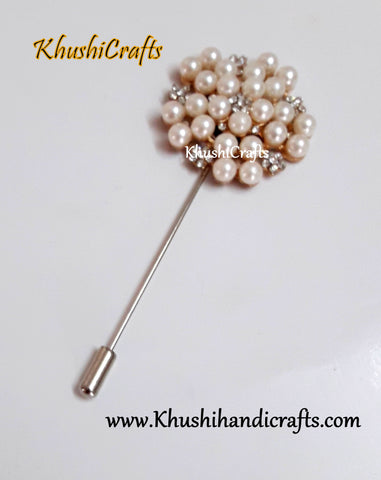 Designer Pearl and Rhinestone Saree Brooch's