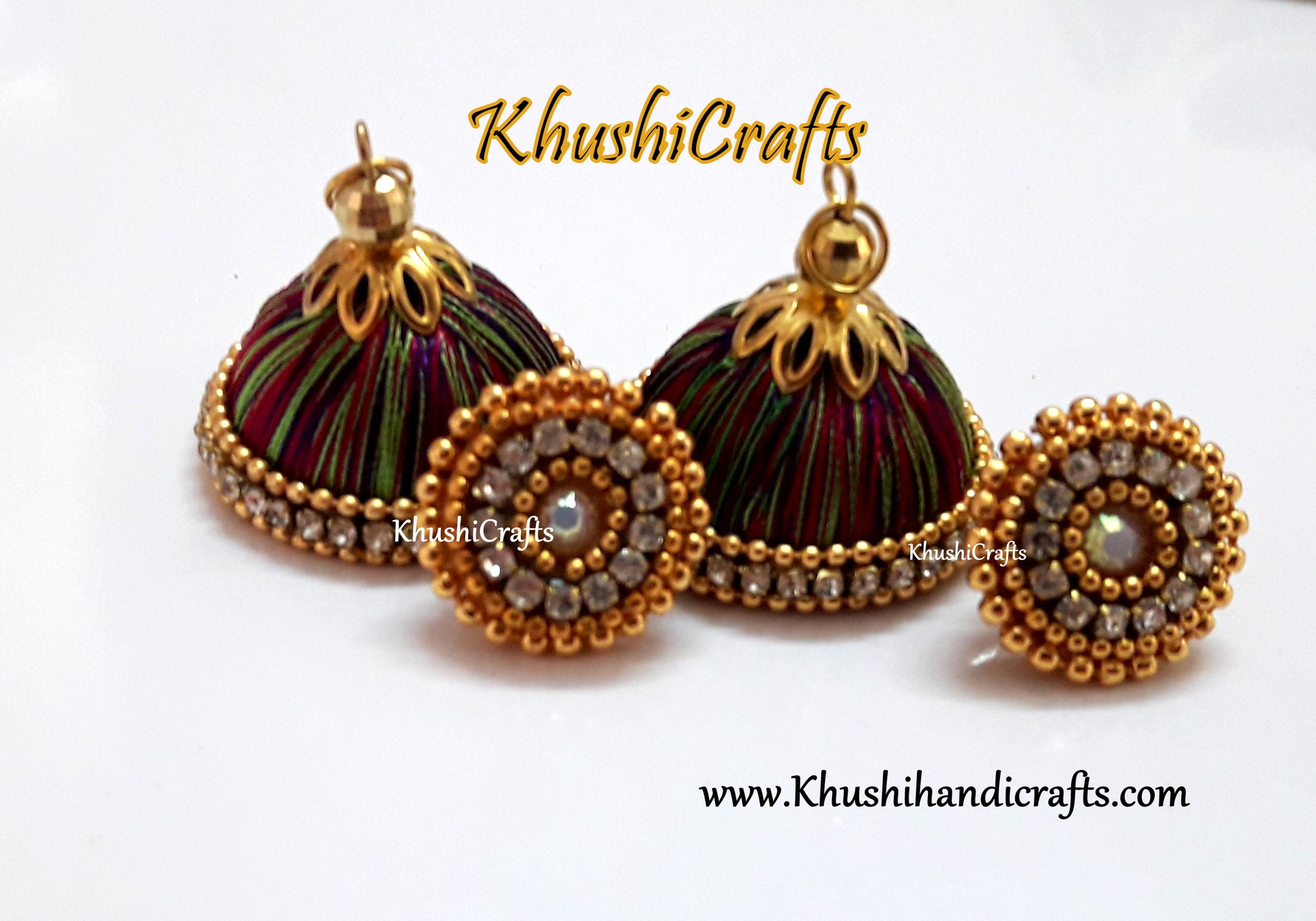 Multicolored Silk Jhumkas