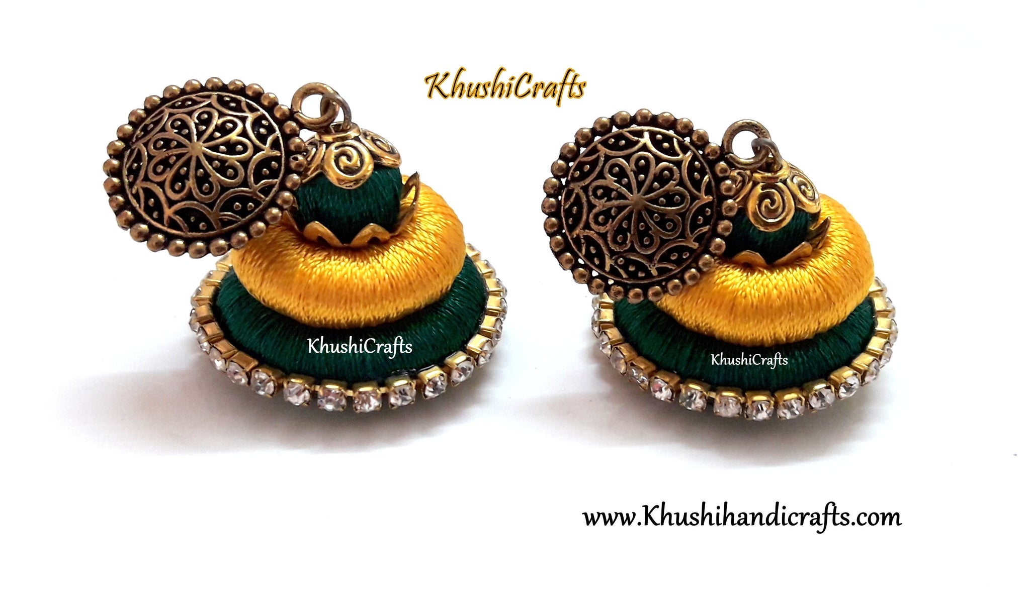 Green Yellow Silk Thread Earrings