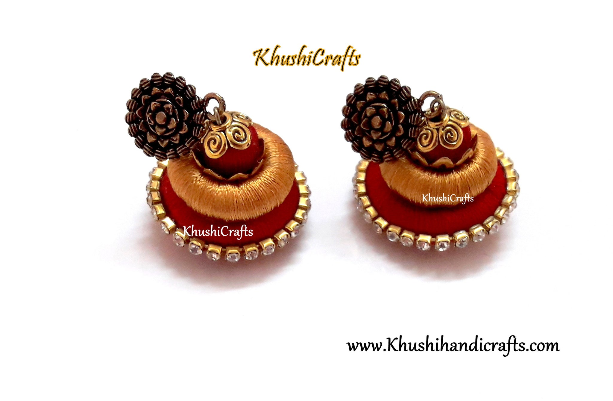 Gold and Red Silk Thread Earrings