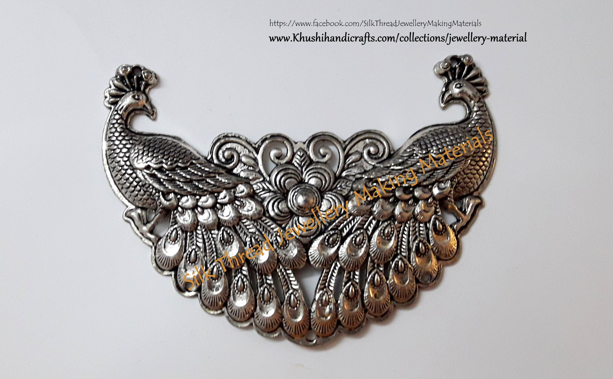 Antique Silver Peacock Pendant .Jewelry materials online