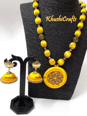 Yellow Silk Thread Necklace set