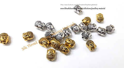 Buddha Spacer Beads in Antique Gold/Silver.Sold per pair -SP3