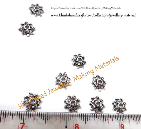 Antique Silver Metal Flower Bead Cap 1 used in bracelets and jhumkas -BC25