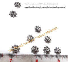 Antique Silver Metal Flower Bead Cap 1 used in bracelets and jhumkas