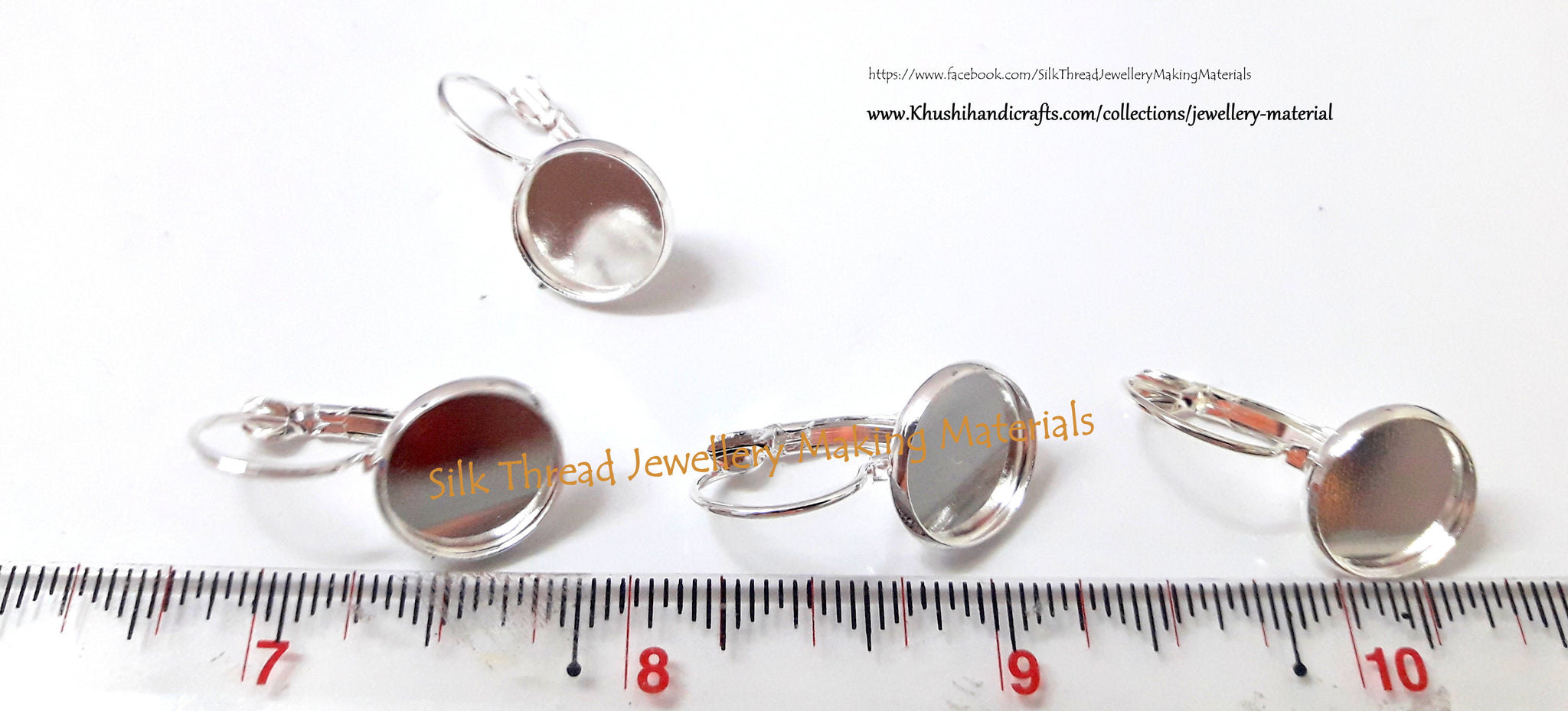 Bezels - French Lever Back Blank Base bezels Earrings (fits 12MM glass cabochons)