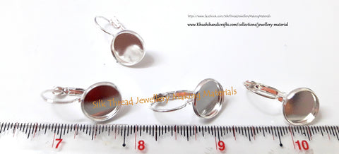 Bezels - French Lever Back Blank Base bezels Earrings (fits 12MM glass cabochons),10 pieces