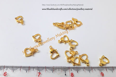 Antique Gold/Silver Heart Lobster Clasps for Necklace Bracelet Chain!Sold per piece. T2