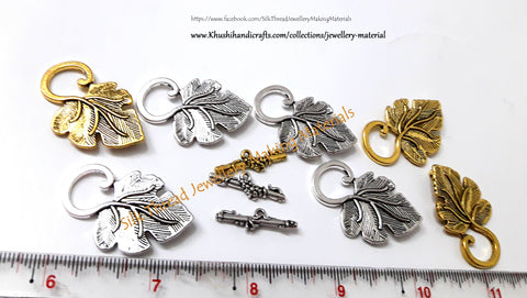 Grape Leaf Toggle Clasps in Antique Gold/Silver - T12