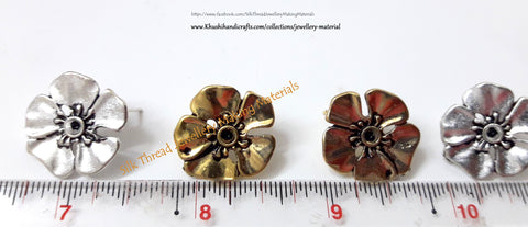 Antique Gold / Silver Big Flower stud -ST4