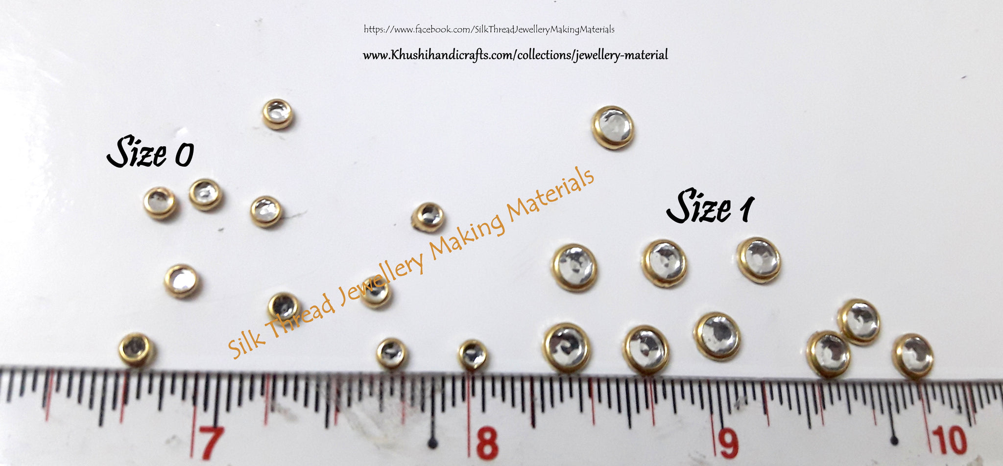 Kundan stones - Round. Pack of 10 grams!