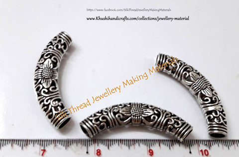 Antique Silver Tibetan Style Designer Hollow Bent Pipes/Tubes.Sold per piece!P011