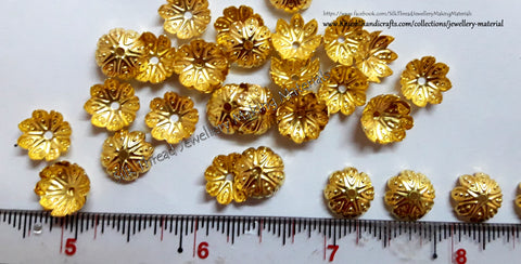 Gold Flower Medium Bead Cap Pack of 15 grams