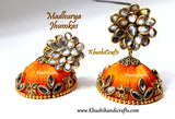 Orange Silk thread Jhumkas with Pachi stud