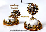 Silk Thread Jhumkas with Pachi stud