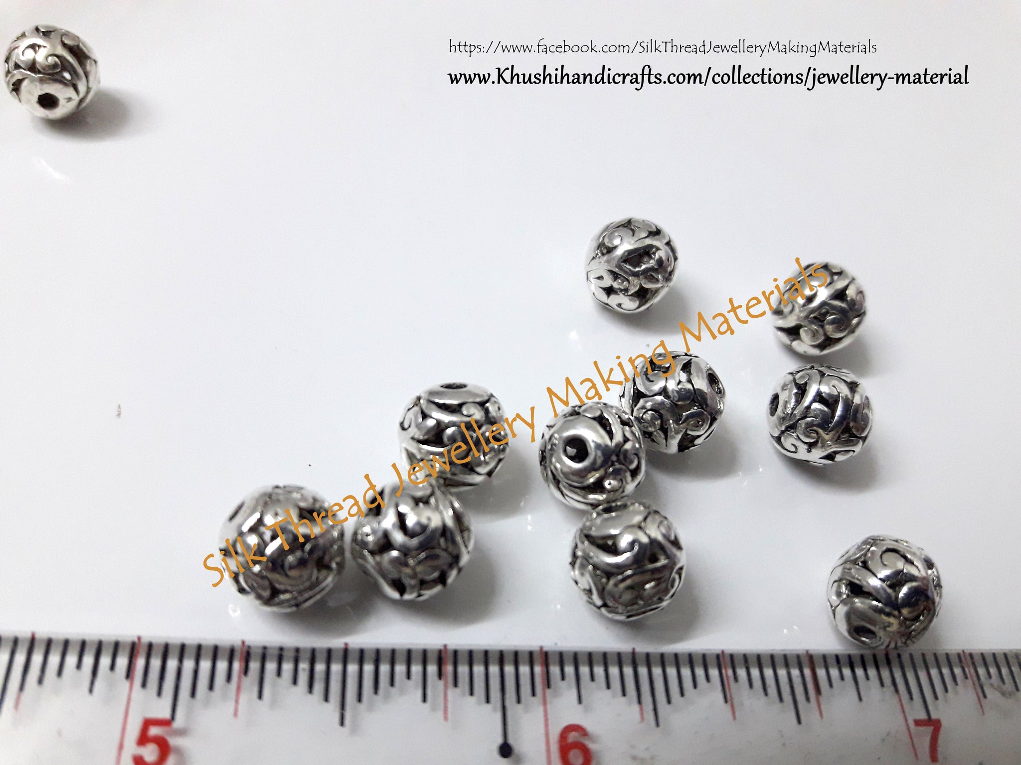 Buy Designer Antique Silver Round spacer beads | Jewelry Materials