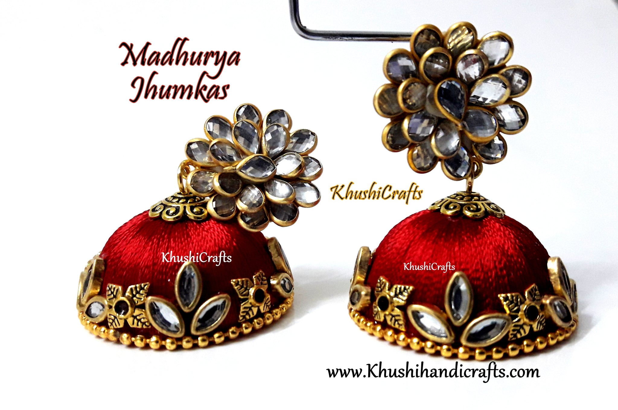 Silk Jhumkas with Pacchi stud