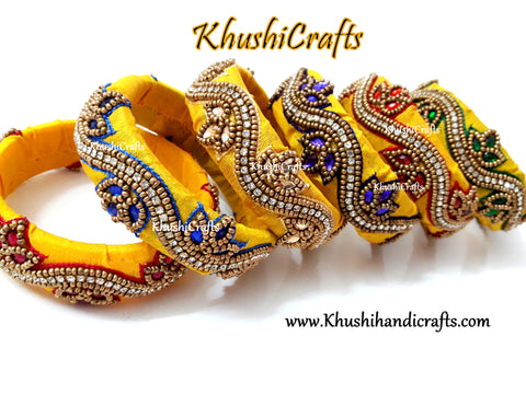 Raw Silk Bangles in Yellow with Maggam / Aari work