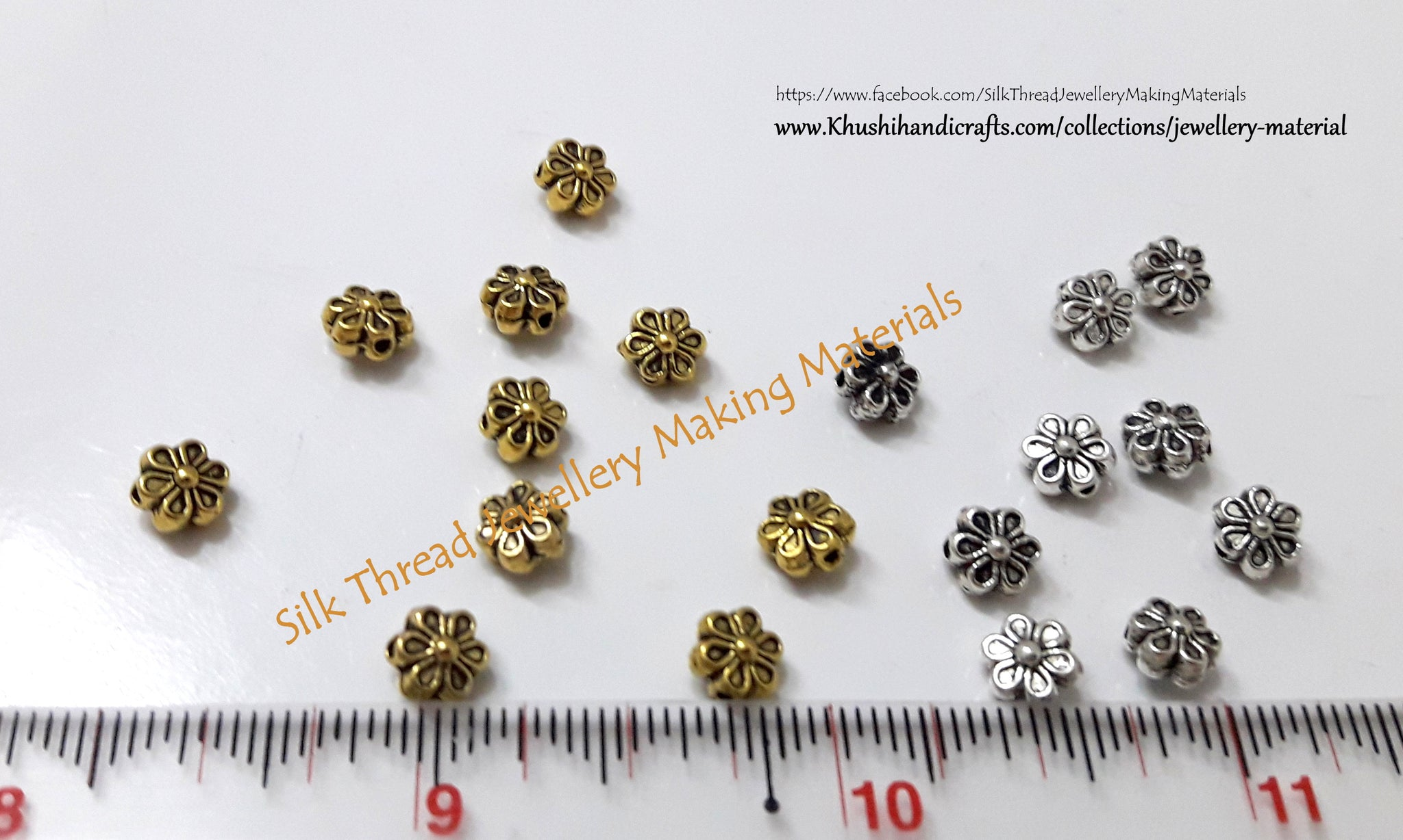 Gold and Silver Flower spacer beads