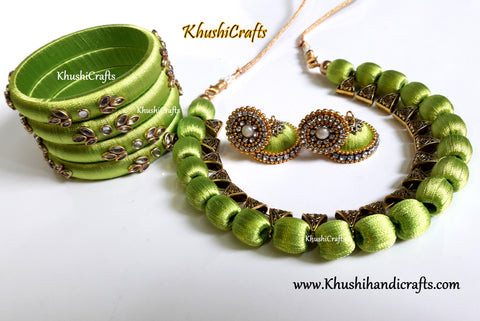 Lime Green silk thread Necklace set with a set of elegant bangles!