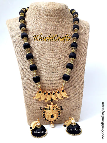 Silk Thread Jewelry in Black complimented with a Designer Pendant!