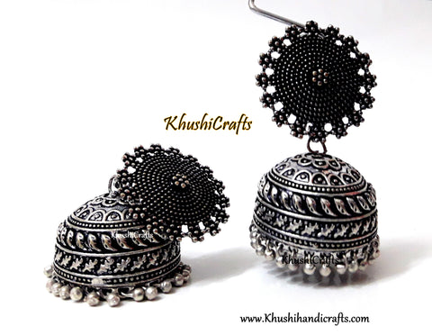 German Silver Sunshine Oxidised Jhumkas