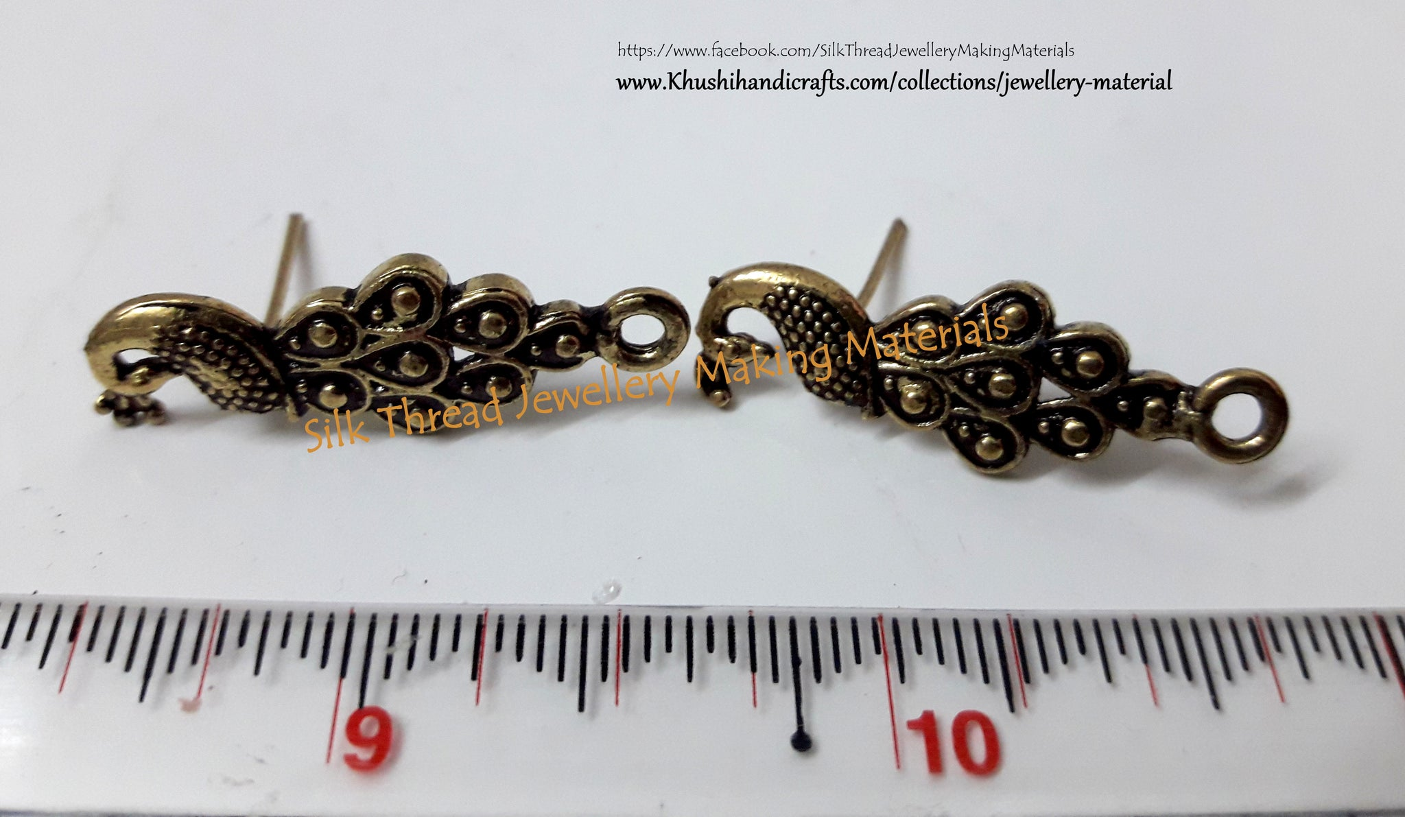 Antique Gold Peacock Stud pattern 10_1 - Khushi Handmade Jewellery