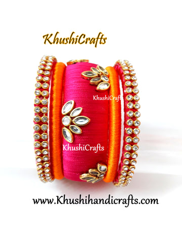 Silk Thread Bangles in Pink and Orange!!