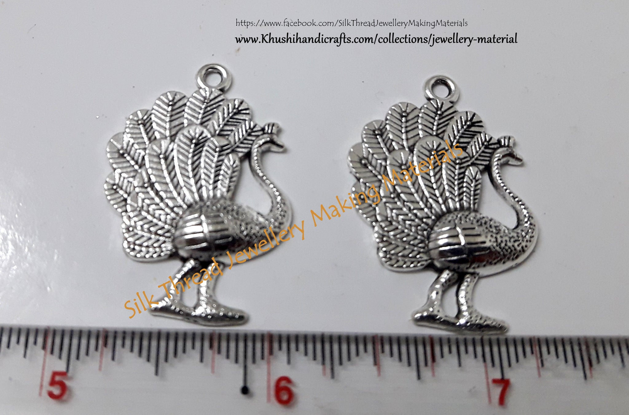 German Silver Peacock Charms.10 pieces included!!P010