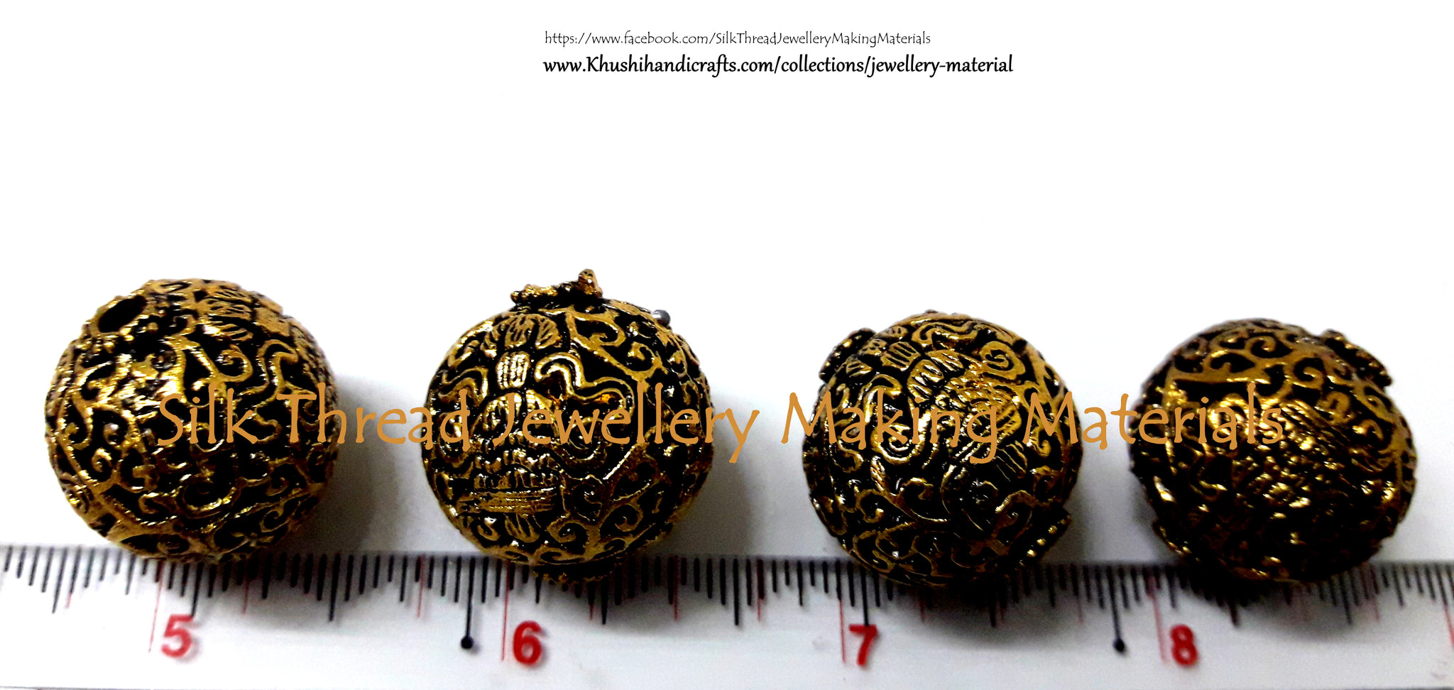 Antique Gold Round Designer Beads 20mm  -GB5 - Khushi Handmade Jewellery