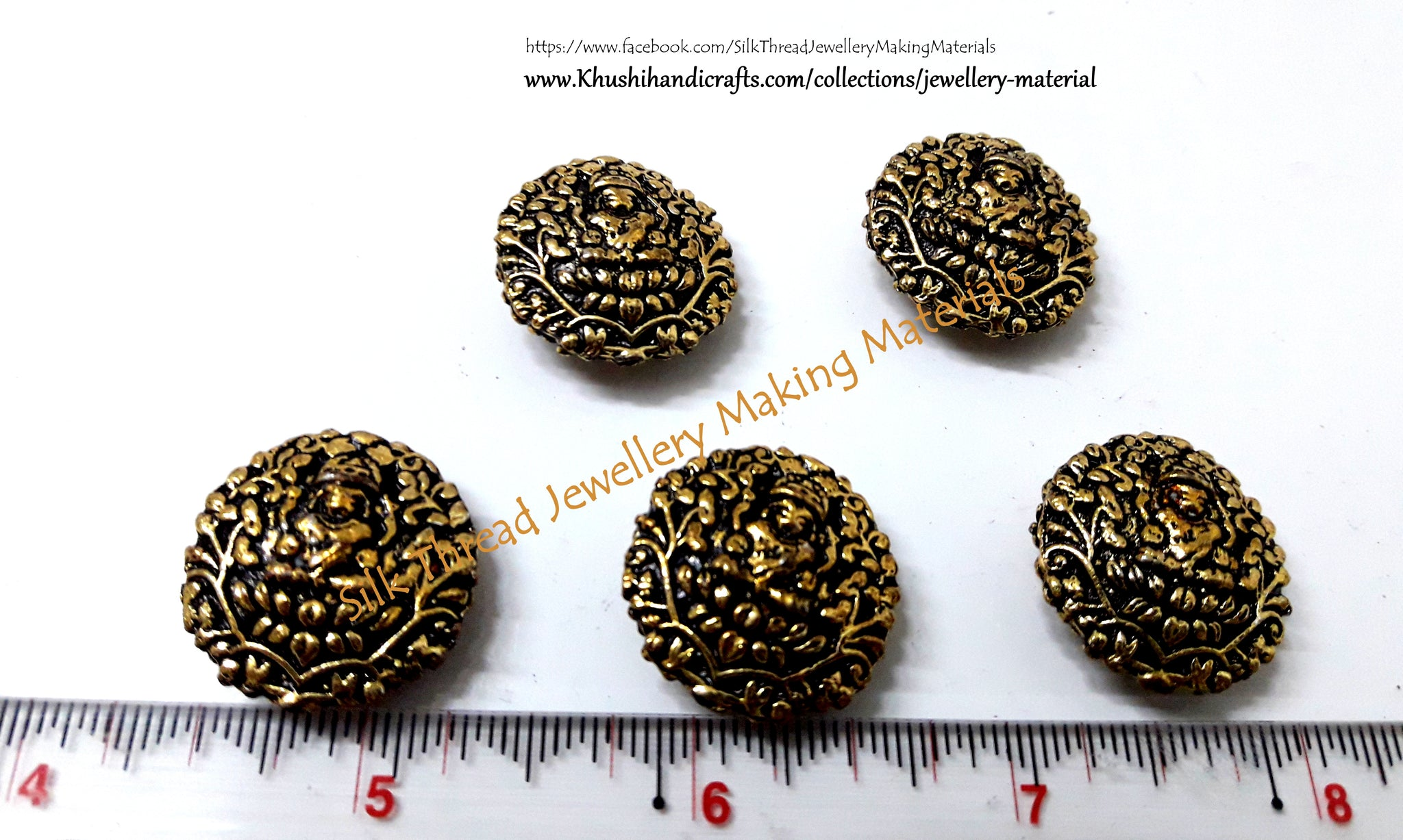 Antique Gold Lakshmi Beads 22mm