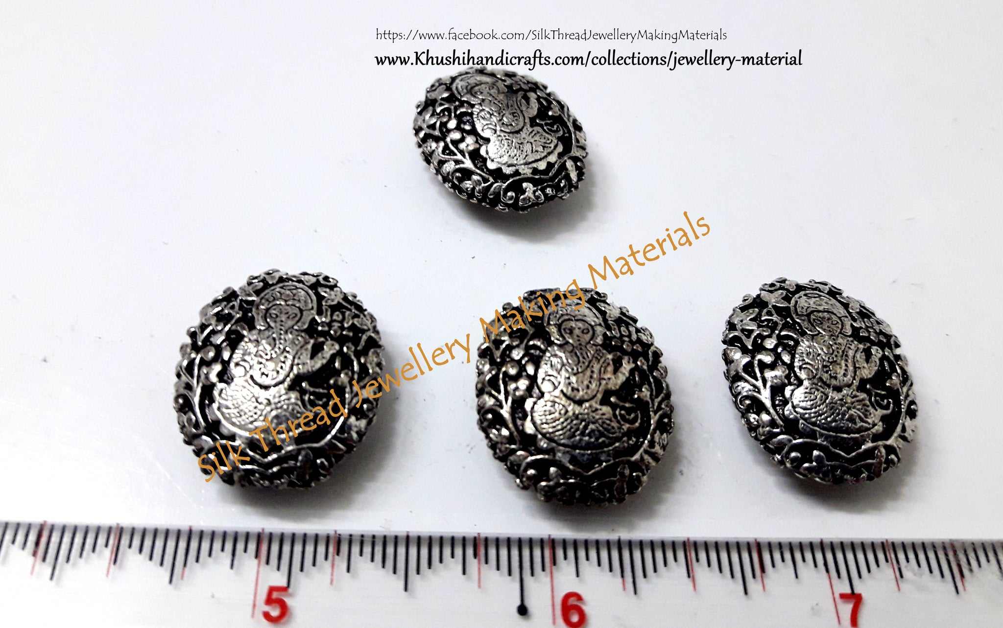 Antique Silver Ganesha Beads 22mm