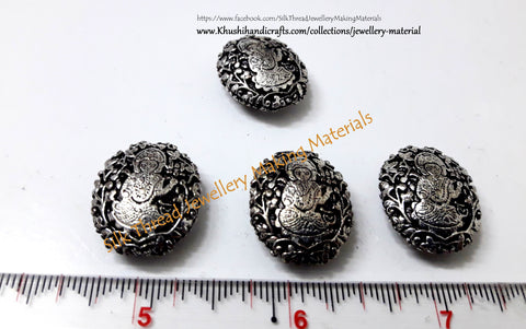 Antique Silver Ganesha Beads 22mm  -GB4