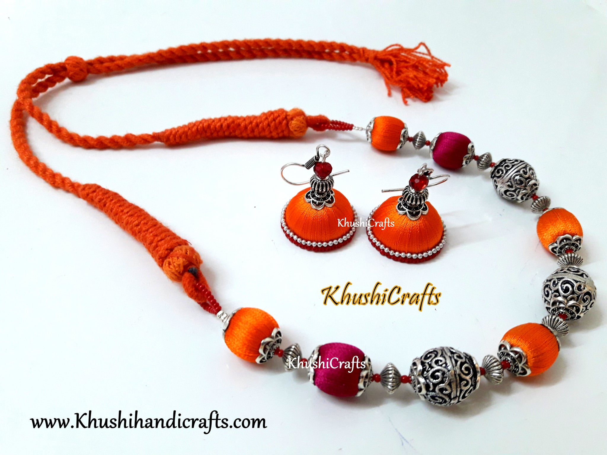 dd17e16f8 Buy Pink and Orange Silk and German silver Beads Amalgamated ...