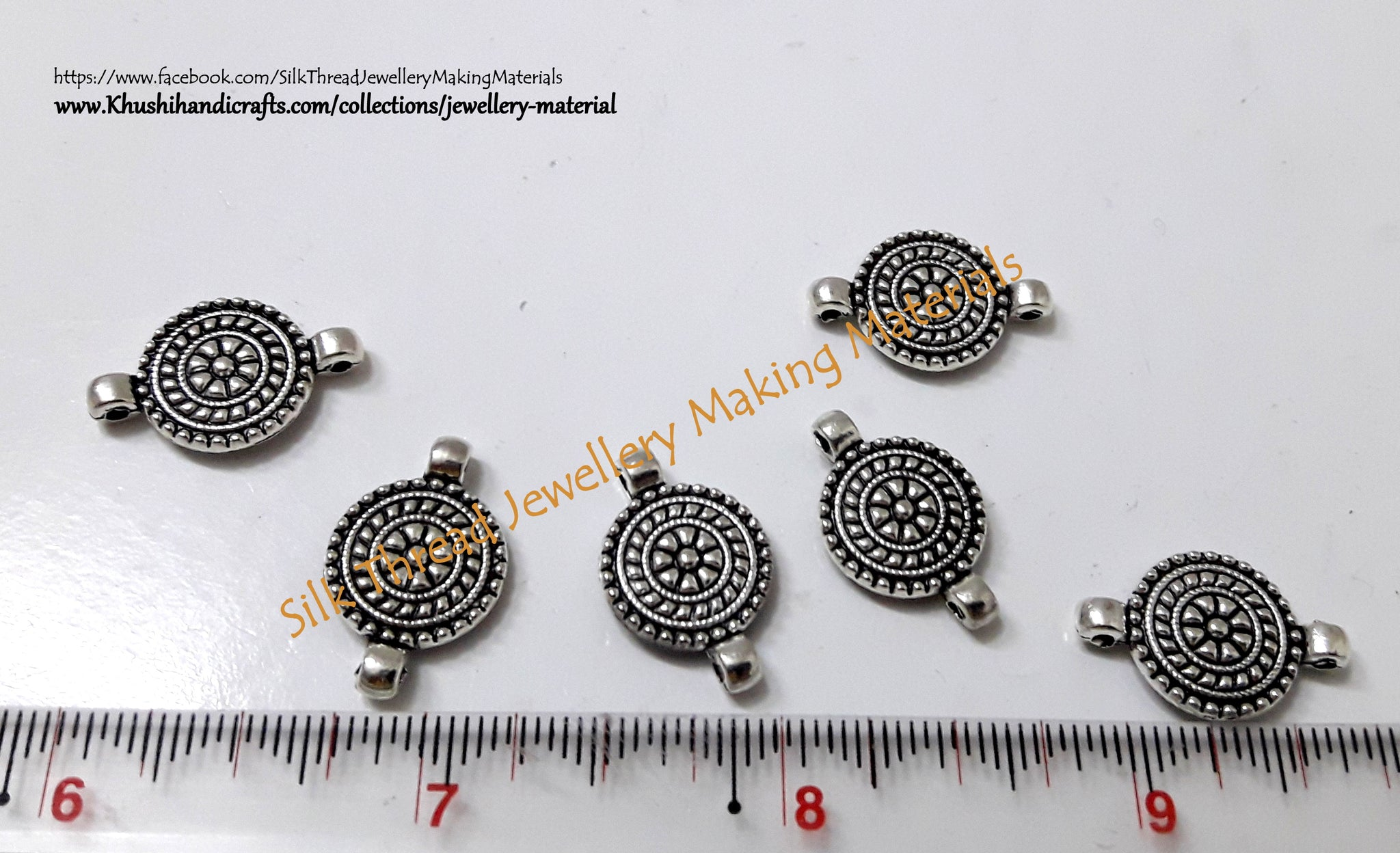 Antique Silver Round Earring Connector
