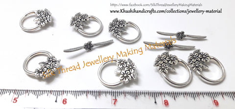 Multiple flower Toggle Clasps in Antique Silver -T14