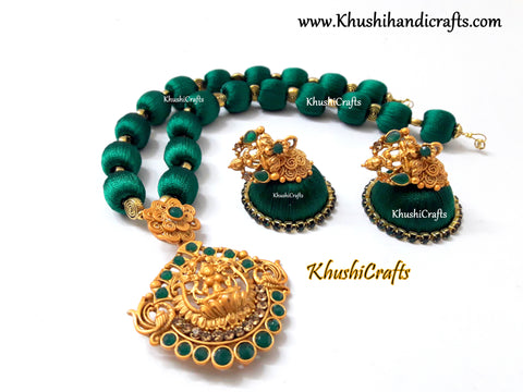 Silk Thread Jewelry in Green complimented with a Lakshmi Pendant!