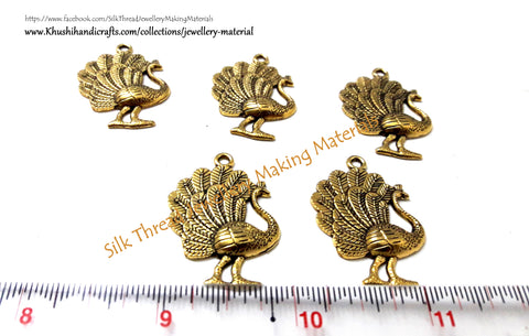 Antique Gold Peacock Charms.10 pieces included!!P010