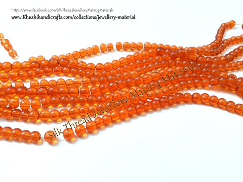 Glass beads 3 mm  in Orange