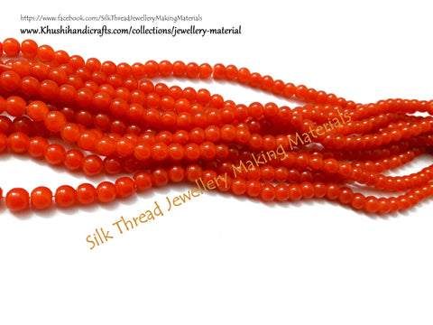 Glass beads 5 mm  in Orange