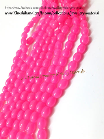 Glass beads- Oval - 8*7mm - Pink