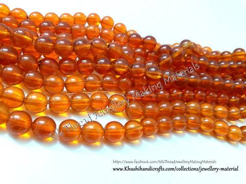 Glass beads- 10mm - Orange
