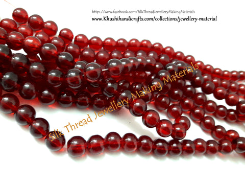 Glass beads- 10mm -Maroon