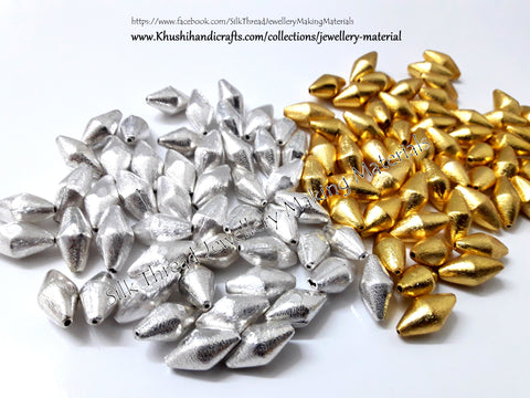 Dholki Brushed Beads in Gold and Silver 20*10 mm