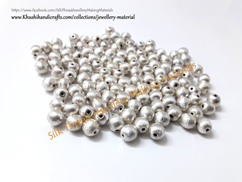 Brushed Round Silver Beads 8mm. Sold per piece!