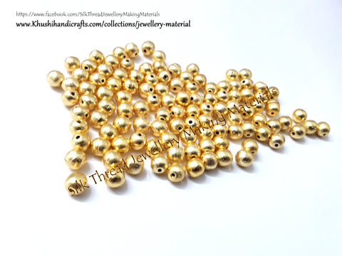 Brushed Round Gold Beads 8mm. Sold per piece!