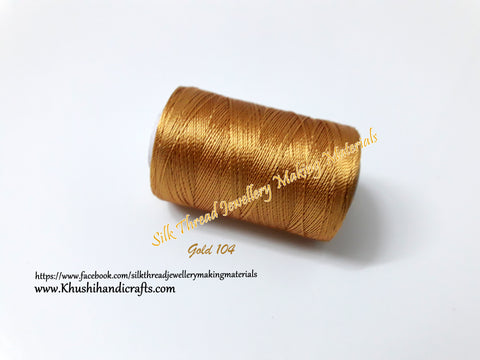 Gold Silk Threads Individual Spools for Bangle/Jhumkas/Jewelry Designing/Tassel Making  Shade No. 104