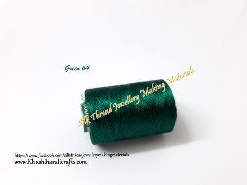 Dark Green Silk Threads Individual Spools for Bangle/Jhumkas/Jewelry Designing/Tassel Making Shade No. 64