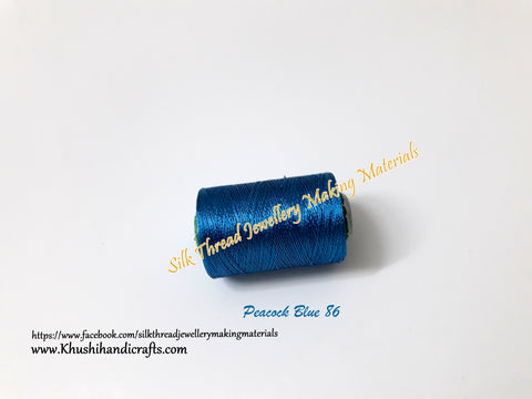 Peacock Blue shade Silk Threads Individual Spools for Bangle/Jhumkas/Jewelry Designing/Tassel Making  Shade No. 86