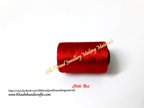 Chilli Red Silk Threads Individual Spools for Bangle/Jhumkas/Jewelry Designing/Tassel Making Shade No. 48